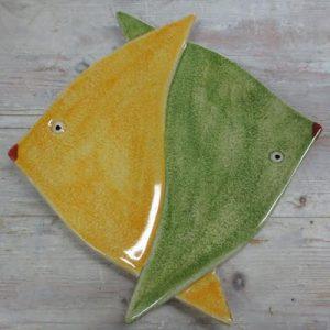 Piatto o vassoio da portata forma pesce bicolor