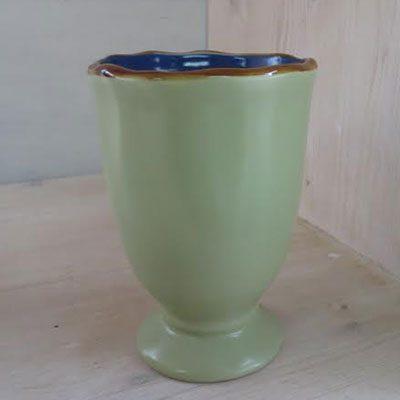 Bicchiere calice colore verde interno blu