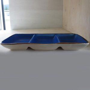 Antipastiera blu 3 scomparti