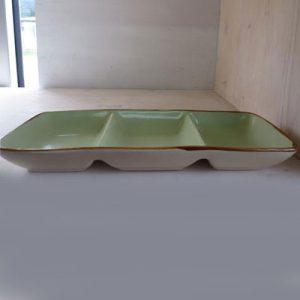 Antipastiera verde 3 scomparti